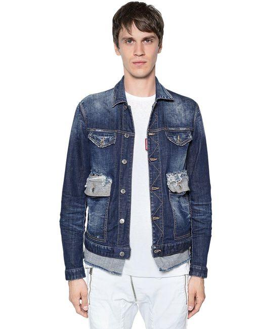 569c595b3928e1 DSquared² - Blue Cotton Denim Jacket W  Contrasting Hem for Men - Lyst ...
