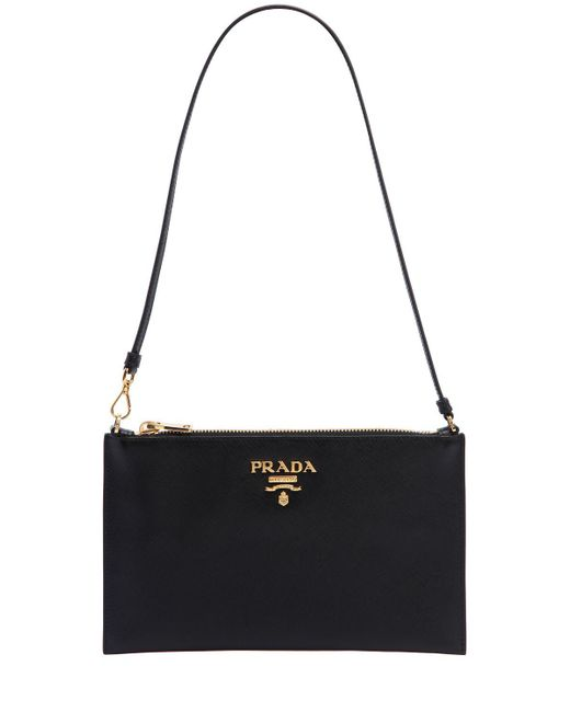 6404ecbed169d3 ... best price prada black saffiano leather flat shoulder bag lyst b427f  c8023