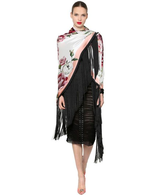 Dolce & Gabbana - Black Floral Silk Satin Shawl With Fringe - Lyst