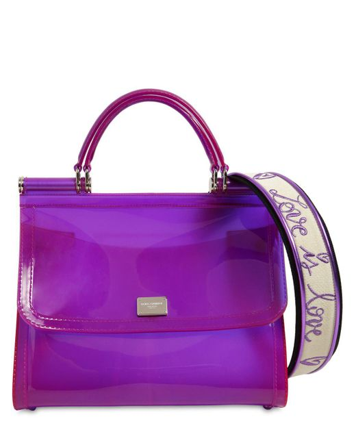33b6a0b6bf Dolce   Gabbana - Purple Sicily Faux Patent Leather Bag - Lyst ...