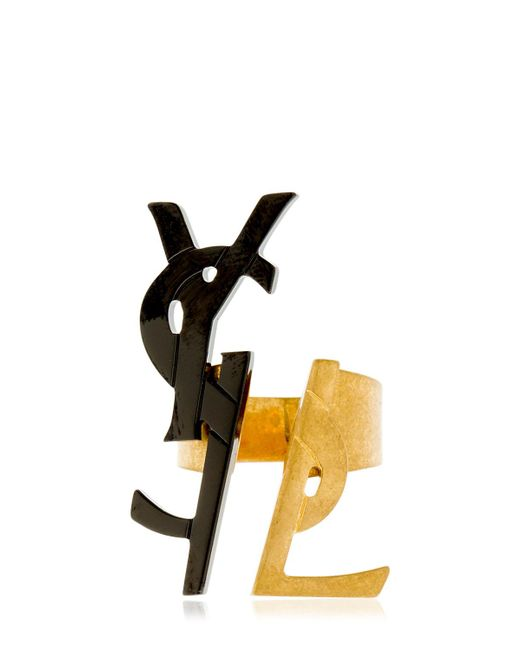 Saint Laurent - Metallic Two Tone Monogram Ring - Lyst