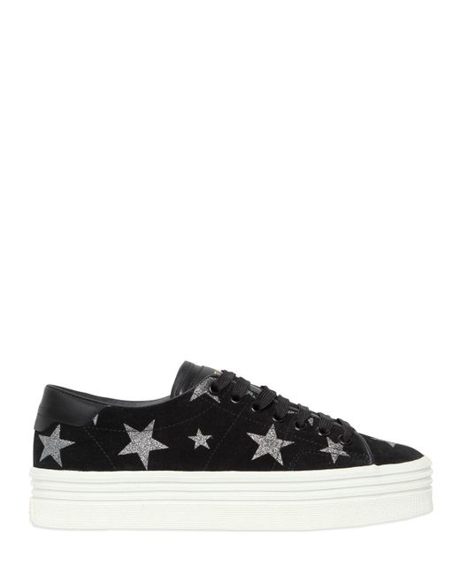 Saint Laurent | Black 40mm Court Classic Stars Suede Sneakers | Lyst