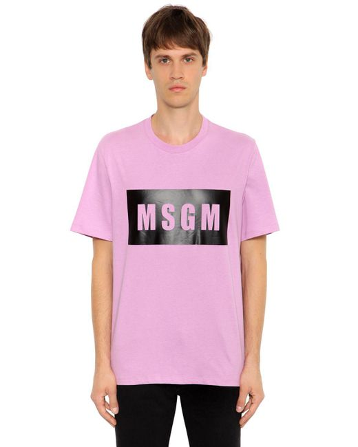 MSGM | Pink Vinyl Logo Printed Cotton Jersey T-shirt for Men | Lyst
