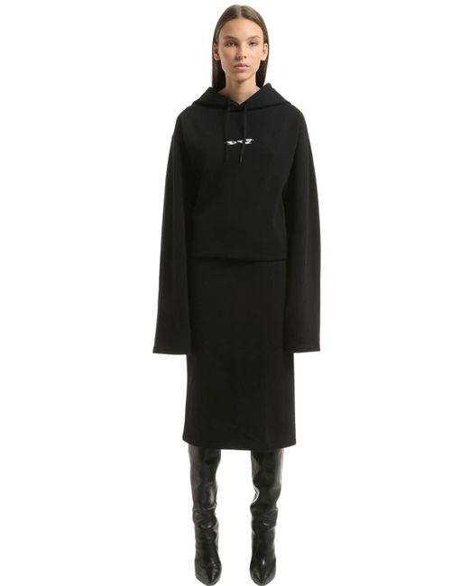 Vetements - Black Eyes Hooded Cotton Sweatshirt Dress - Lyst