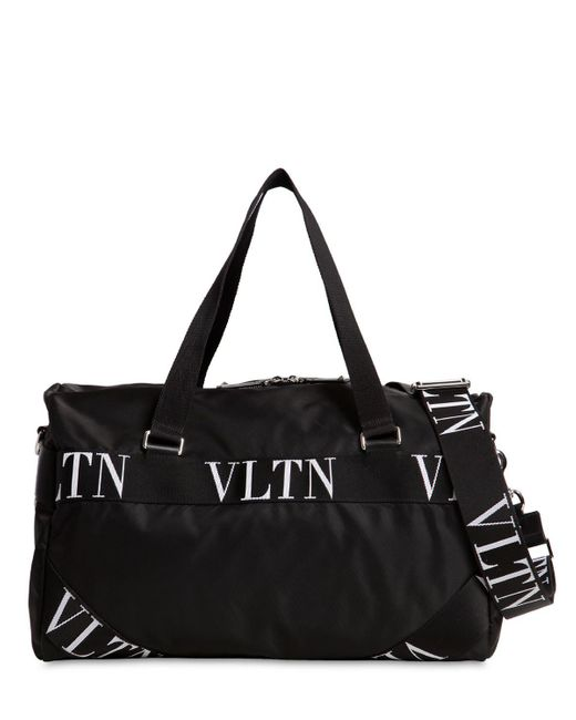 8a37115c57 ... Valentino - Black Small Vltn Logo Nylon Boston Bag for Men - Lyst ...