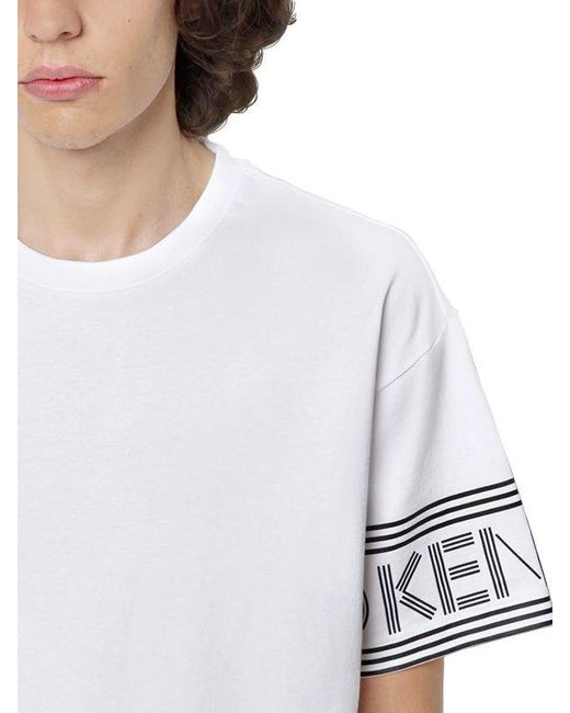 3cb867d46 ... KENZO - White Logo Printed Cotton Jersey T-shirt for Men - Lyst ...