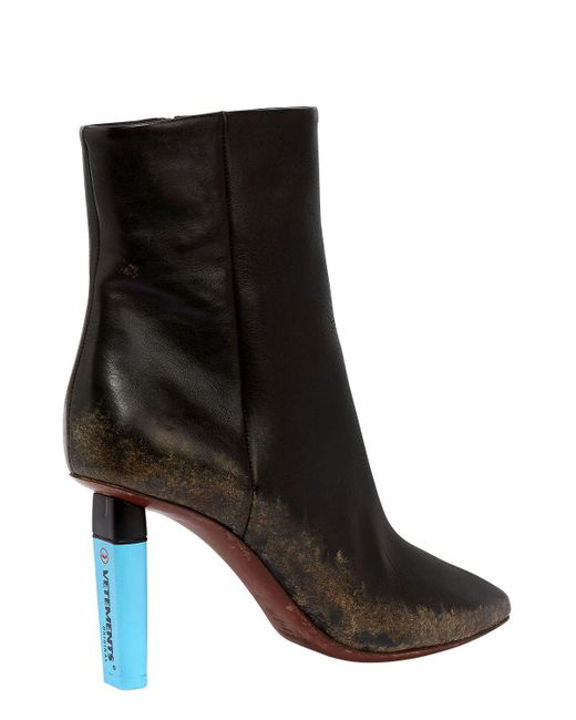 Vetements 90MM HIGHLIGHTER LEATHER ANKLE BOOTS 0OLDKIoj