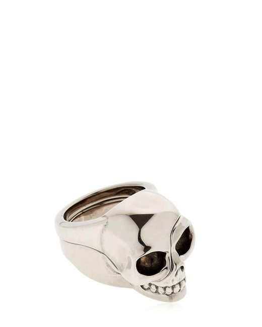 Alexander McQueen | Metallic Divided Skull Silver Plated Brass Ring for Men | Lyst