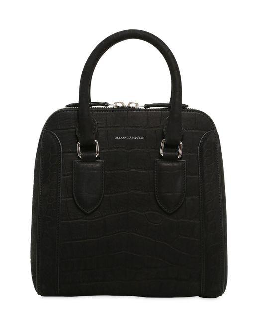 Alexander McQueen | Black Medium Heroine Croc Embossed Nubuck Bag | Lyst