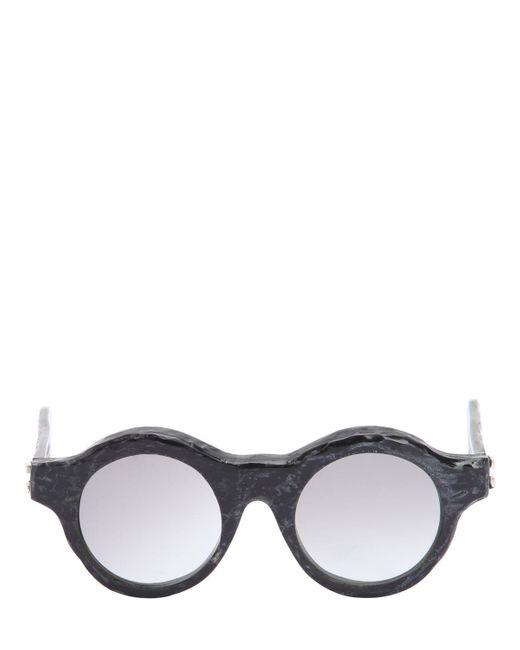 Kuboraum Berlin - Black Burnt Acetate Round Sunglasses for Men - Lyst