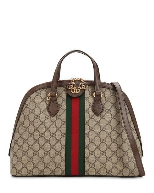 36a7d1dd8896 Lyst - Gucci Beige Ophidia GG Medium Top Handle Bag in Brown - Save 5%