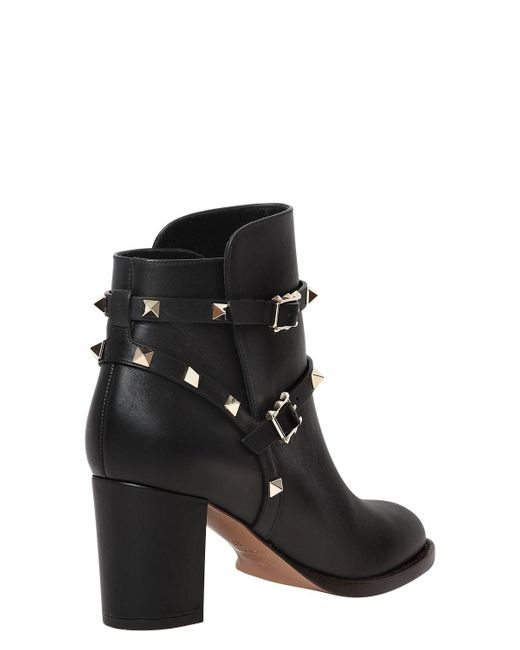 Valentino 70MM ROCKSTUD LEATHER ANKLE BOOTS Qz41h