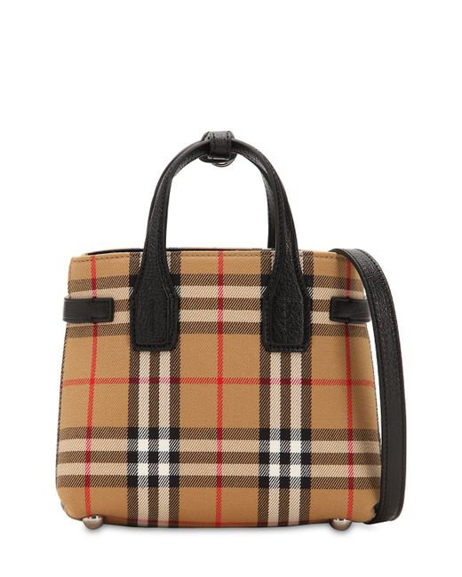 a785ca7d0a1e ... Lyst Burberry - Natural Banner Baby Checked Canvas   Leather Bag ...
