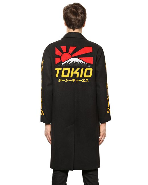 Gcds | Black Tokio Embroidered Cloth Long Coat for Men | Lyst
