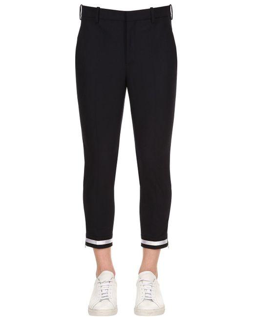 Neil Barrett - Blue 16.5cm Stretch Fine Wool Gabardine Pants - Lyst