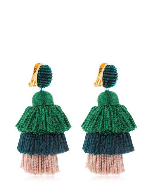 Oscar de la Renta - Green Silk Tiered Tassel Clip-on Earrings - Lyst