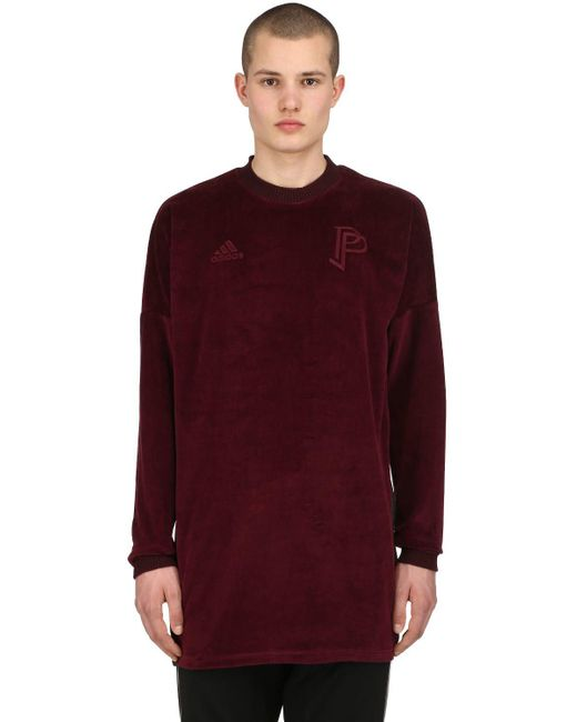 Adidas Originals - Red Paul Pogba Velour Long Sleeve T-shirt for Men - Lyst
