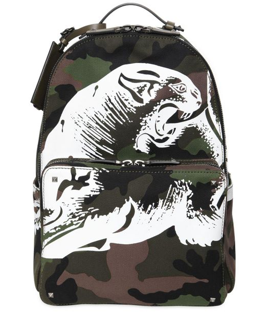 Valentino | Green Panther Printed Camo Canvas Backpack for Men | Lyst