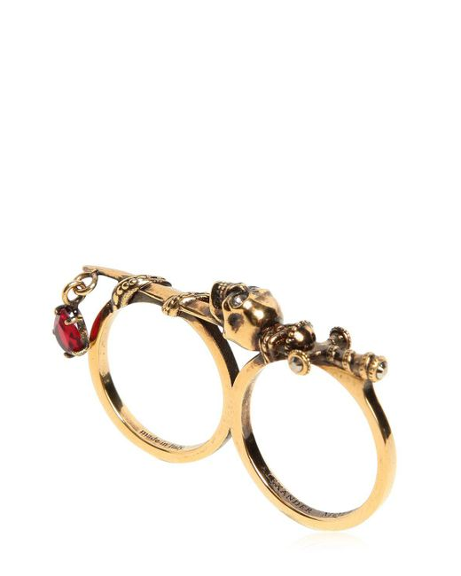 Alexander McQueen | Metallic Double Sword & Skull Ring | Lyst