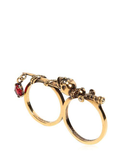 Alexander McQueen - Metallic Double Sword & Skull Ring - Lyst