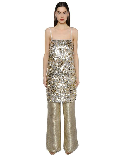 Gianluca Capannolo - Metallic Sequined Crepe Tunic Dress - Lyst