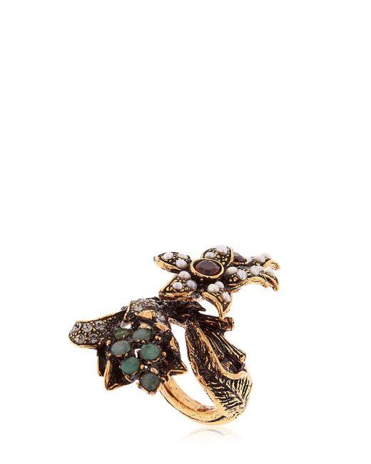 Alcozer & J   Metallic Flora Pearl, Emerald & Crystal Ring   Lyst