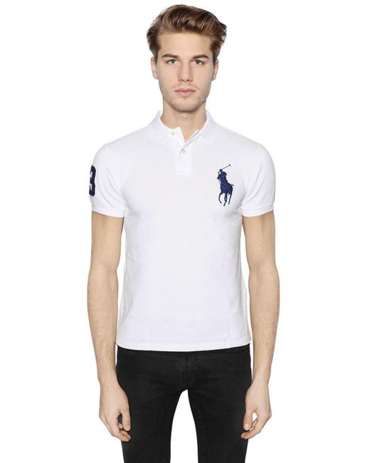 Polo Ralph Lauren | White Slim Big Pony Cotton Piqué Polo Shirt for Men | Lyst