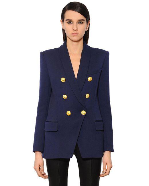 Balmain - Blue Double-breasted Wool-twill Jacket - Lyst