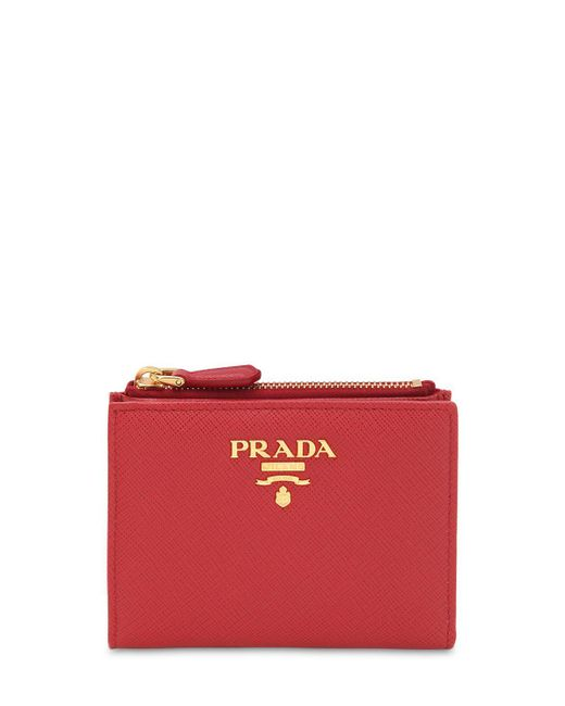 d0e68681f37c Prada - Red Saffiano Leather Wallet - Lyst ...