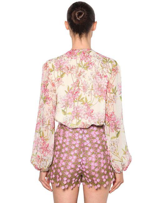fb8397f6ad2b ... Giambattista Valli - Pink Floral Print Silk Georgette Blouse - Lyst