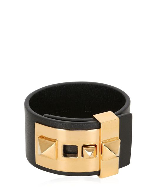 Valentino - Brown Rockstud Leather Cuff Bracelet - Lyst
