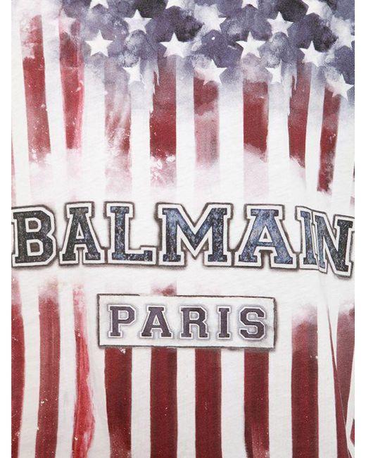 Balmain - Multicolor Slim America Flag Cotton Jersey T-shirt for Men - Lyst