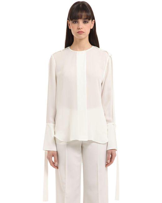 Calvin Klein   White Double Georgette Shirt   Lyst