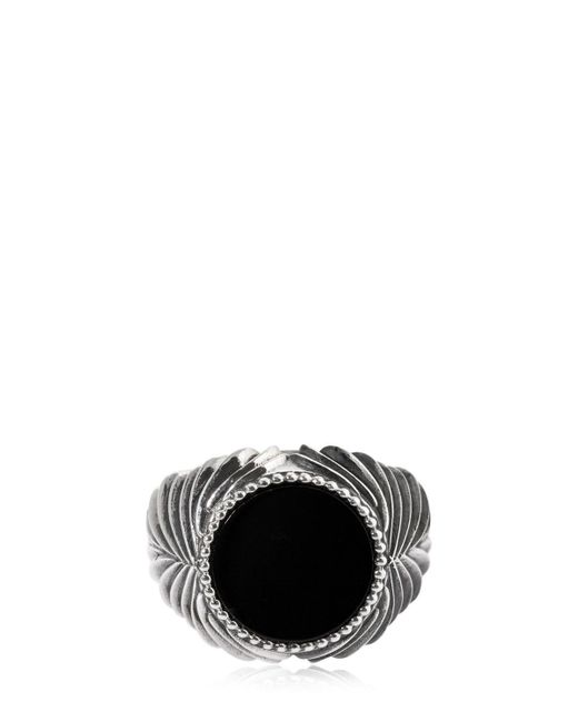 Emanuele Bicocchi - Metallic Herringbone Stone Onyx & Silver Ring for Men - Lyst