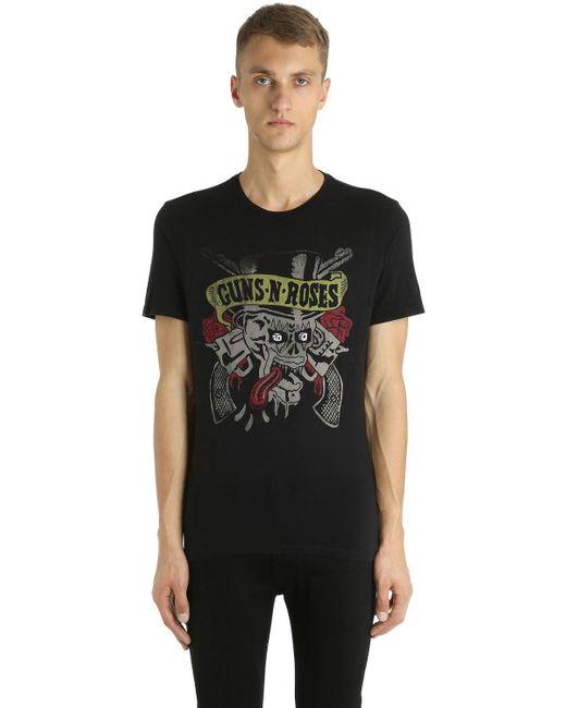 John Varvatos Guns N Roses Printed Jersey T Shirt In Black