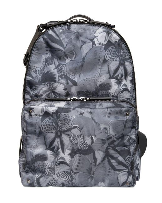 Valentino - Gray Butterfly Backpack for Men - Lyst