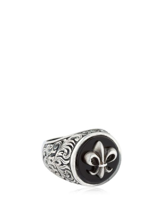 Cantini Mc Firenze - Metallic Fleur-de-lis Silver & Onyx Ring for Men - Lyst