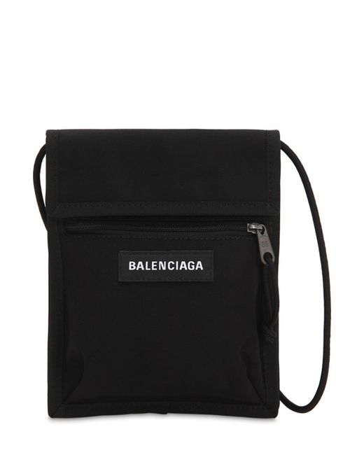 06cb64c40dfd Balenciaga - Black Logo Explorer Nylon Crossbody Bag for Men - Lyst ...