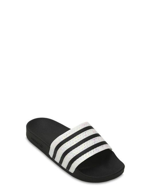 ae2ad730bbef6 ... Adidas Originals - Black Adilette Rubber Slide Sandals - Lyst ...