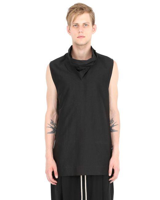 Rick Owens | Black Sleeveless Cotton & Silk Poplin Shirt for Men | Lyst