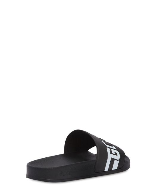 c28ce78912cd4 ... Gcds - Black Logo Embossed Rubber Slide Sandals for Men - Lyst ...