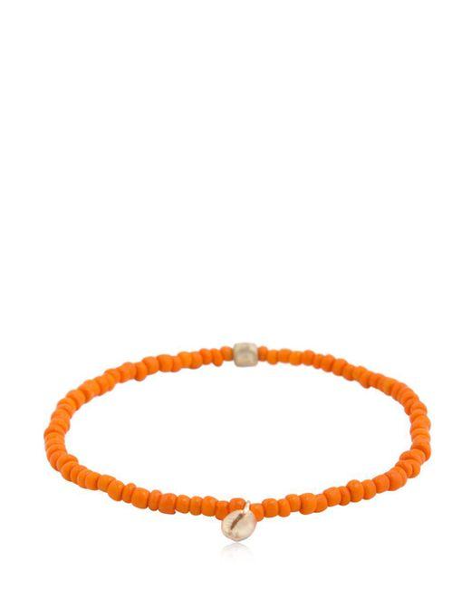 Luis Morais - Orange Shell Charm & Striped Beaded Bracelet for Men - Lyst