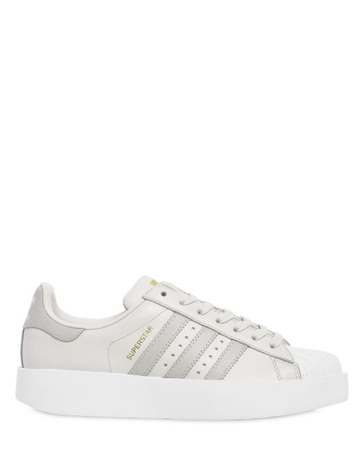 Adidas Originals - Gray Superstar Bold Leather Sneakers - Lyst ...