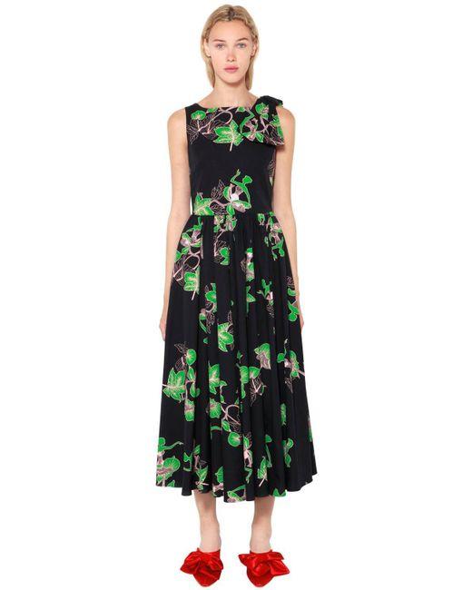 Vivetta - Black Bouquet Printed Cotton Poplin Dress - Lyst