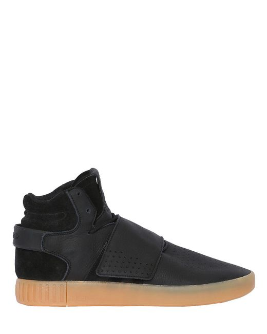 ... hot sale Adidas Originals - Black Tubular Invader Strap Mid Top Sneakers  for Men - Lyst ... 47ae90794