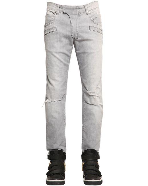 Balmain | Gray Distressed Biker Jeans  for Men | Lyst