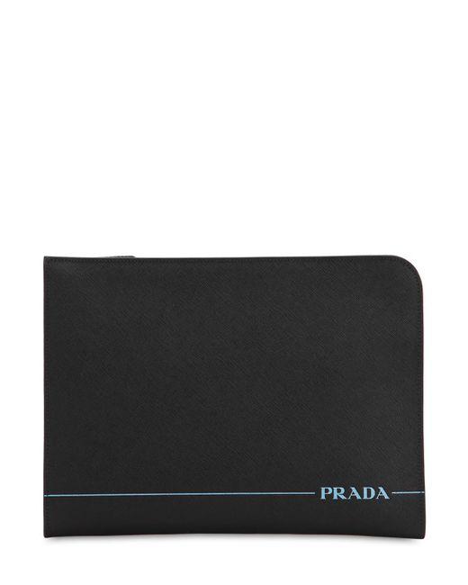 800b5210ce884e Prada - Black Logo Saffiano Leather Pouch for Men - Lyst ...