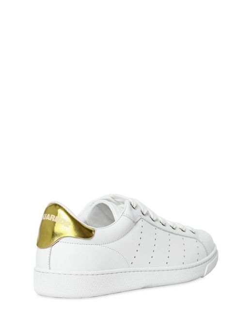 Dsquared2 10MM LEATHER SNEAKERS W/ METALLIC DETAIL Shop For Online RG0LiaLkQf