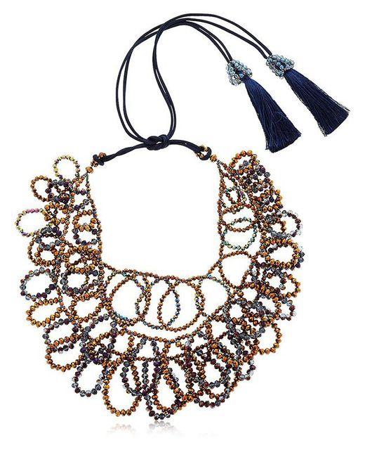 Night Market - Metallic Flat Circles Beaded Necklace - Lyst