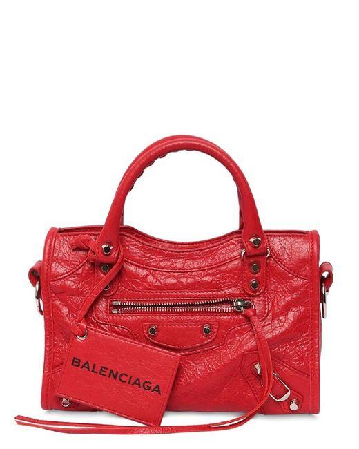 Balenciaga Red Mini City Leather Strap Logo Bag